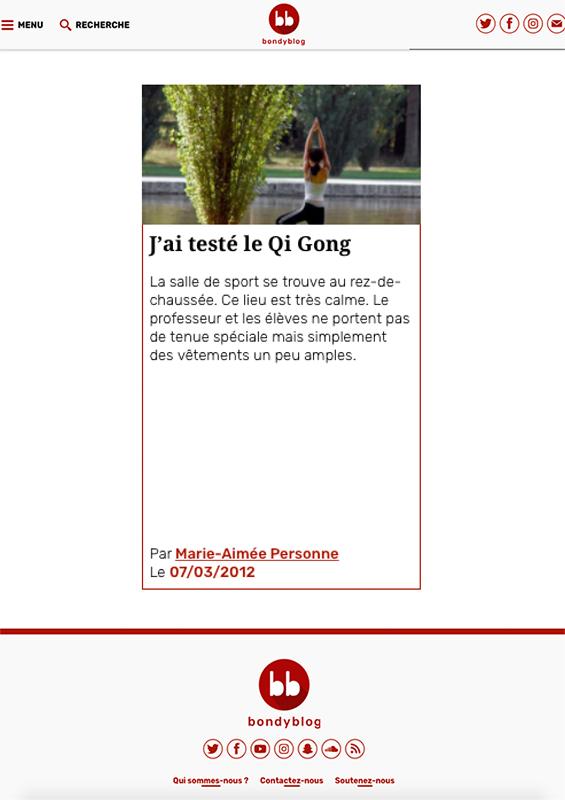 Bondy Blog - J'ai testé le Qi Gong - Couverture